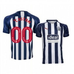 Youth 2019/20 West Bromwich Albion Custom White Blue Home Short Sleeve Authentic Jersey