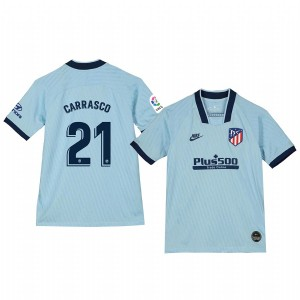 Youth 2019/20 Yannick Carrasco Atletico de Madrid Third Light Blue Alternate Short Sleeve Authentic Jersey