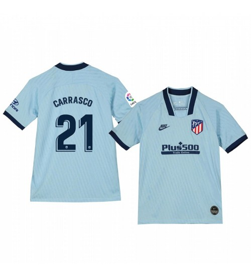 Youth 2019/20 Yannick Carrasco Atletico de Madrid Third Light Blue Alternate Short Sleeve Authentic Jersey