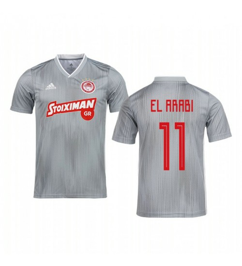 Youth 2019/20 Youssef El-Arabi Olympiacos Piraeus Gray Away Short Sleeve Authentic Jersey